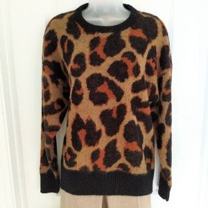 Band of Gypsies Animal Print Fuzzy Sweater Size XS